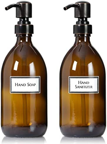 Artanis Home Ceramic Printed Apothecary Bottles with Oil Rubbed Bronze Pumps Refillable Glass product image