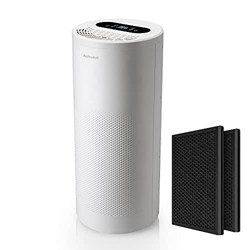 Aultrodium Air Purifier with 2 Pack of H13 True HEPA Filters, Ionizer Air Purifier with Temp Display,Air filter for Home and Large Room up to 985ft², Remove 99.97% Smoke, Dust, Odors, Pet Dander-A30 White