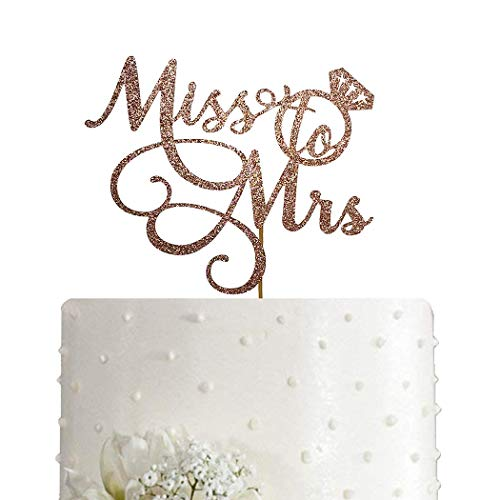 Miss To Mrs Cake Topper - Bridal Shower, Mr and Mrs Wedding/Engagement/Marriage Party Decoration, Double-sided Rose Gold Glitter