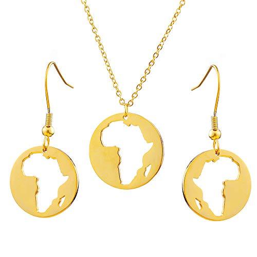 Conjunto De Joyas De Mapas Africanos De Acero Inoxidable, Color Dorado, Estilo Hip-Hop, Mapa Redondo De África, Collares Colgantes, Joyería para Mujeres