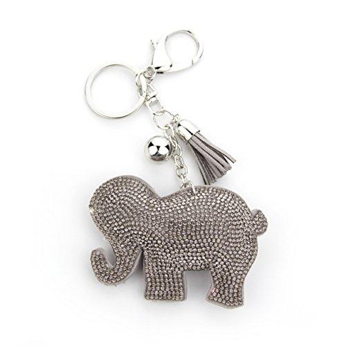 MANUMAR Schlüsselanhänger Handtaschen Dekoration in Elephant Motiv aus glitzernden Strass Steinen mit Kordel und Fransen Geschenkidee