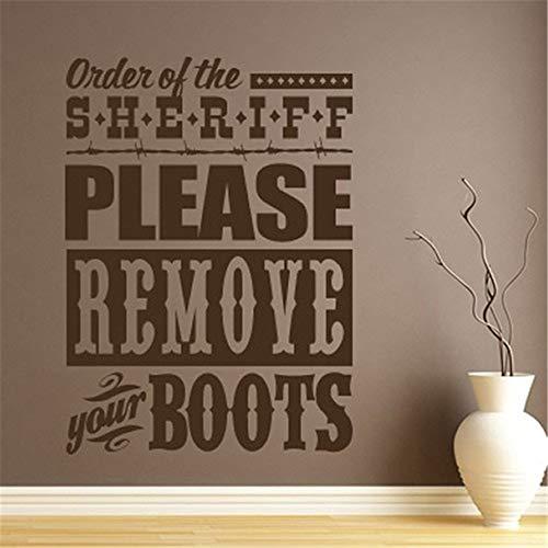 Pegatinas decorativas para pared, palabras artísticas, refranes, letras extraíbles, orden del sherift, por favor, quítate las botas para sala de estar o dormitorio