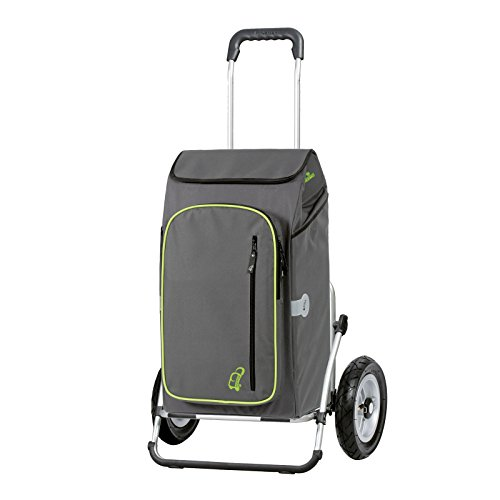 Andersen Einkaufstrolley Royal XXL luftbereift und 56 Liter Einkaufstasche Toto grau mit Kühlfach Einkaufswagen Gestell aus Aluminium klappbar