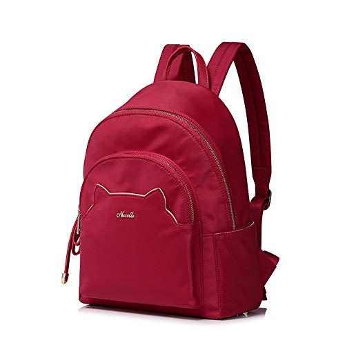 MSF-Des sacs Sac À Dos Dames Occasionnels Grande Capacité Voyage Sac À Dos Fashion College Wind Nylon Tissu Sac (24 × 13 × 35CM) (Couleur : Rouge)