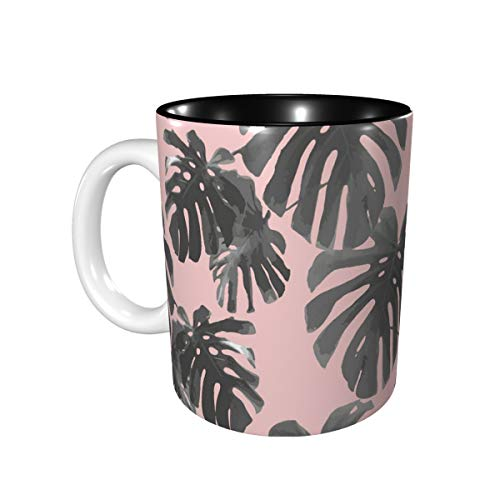 Unisex Mugs Travel Mug With Curved Handle Green Tropical Palm Leaves Seamless Pattern Coffee Mug Tea Mug For The Office Best Boss Gifts For Women Female Suitable For Microwave