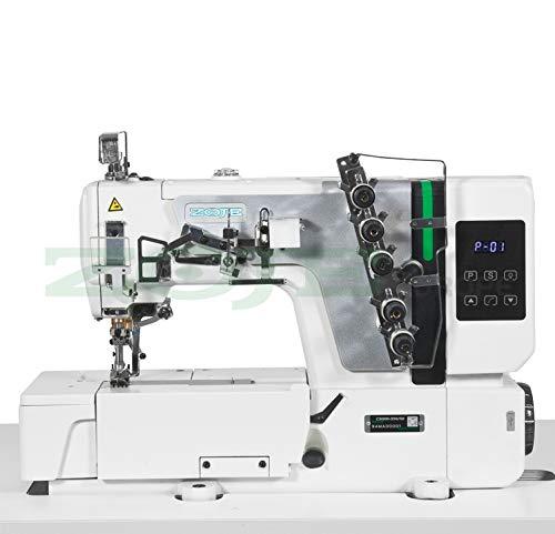 ZOJE Coverlock Interlock - Máquina de coser industrial, máquina de coser industrial, completa (con mesa y estructura)