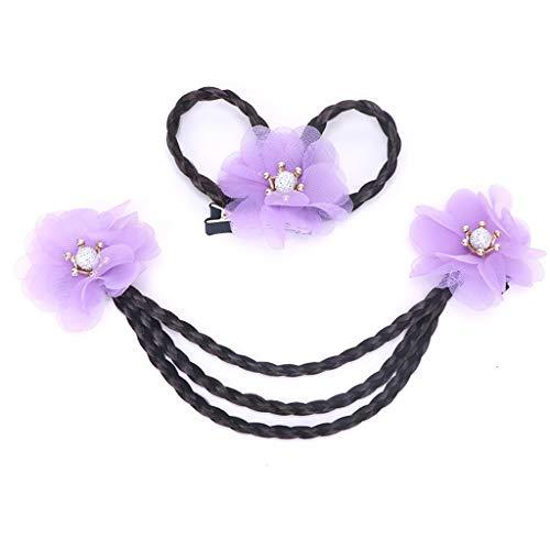 Gib niemals auf Kopfschmuck Kinder Haarnadel Tiara Kopf Blume Perücke Kette Prinzessin Kette Student Niedlichen Kostüm Haarschmuck Kleines Mädchen Top Clip (Farbe: Rot) (Color : Purple, Size : B)