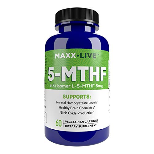 MAXX LIVE L-Methylfolate 5mg Active Folate 5 Mthfr Support Supplement Professional Strength Methyl Folate - Immune Support, Essential Amino Acids & Brain Supplement- 60 Vegan Capsules
