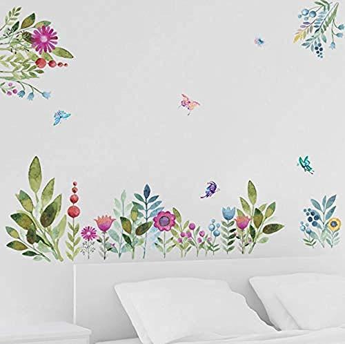 Vinilo decorativo de pared con diseño de flores de jardín de colores para decoración del hogar, diseño de pájaros voladores de mariposa, efecto 3D, decoración de bodas, 70 x 50 cm