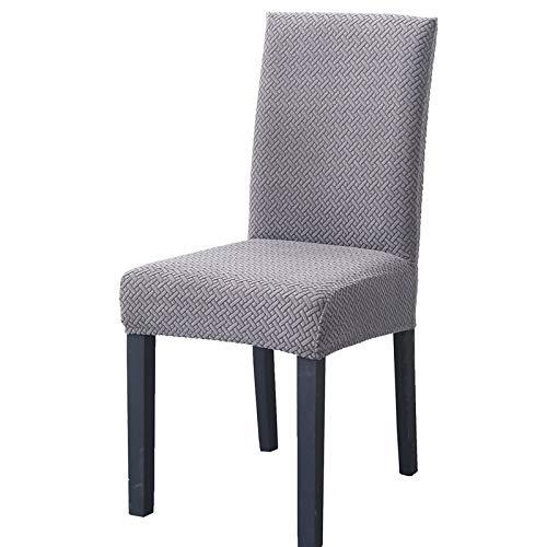 LiveGo Fundas para sillas de Comedor, elásticas y Modernas, extraíbles, Lavables, Plateado, Pack de 4