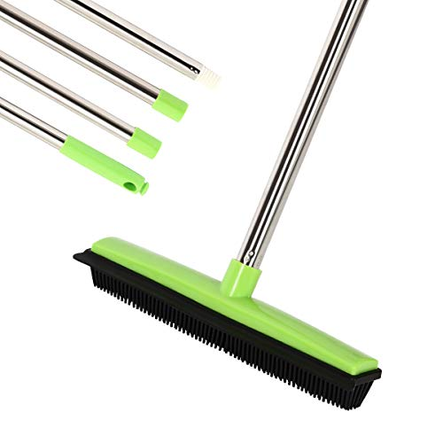 """MEIBEI Push Broom, Soft Bristle Rubber Broom with Adjustable Long Handle - 53"""", Carpet Sweeper with Squeegee, Removing Pet Cat Dog Hair on the Carpet, Sturdy and Durable"""