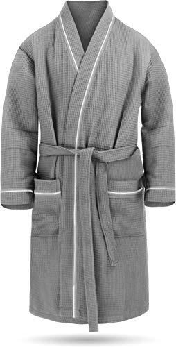 Herren Morgenmantel aus 100{ccbc538e5eb03732d8010072a1303d523220afd631584ab846cb1e3f0bda36a4} Baumwolle - Waffelbademantel - dünner Kimono für Männer (Gr. S - 6XL) Farbe Grau Größe 4XL