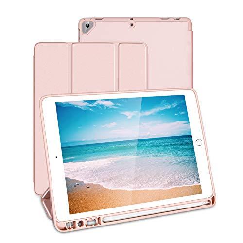 Jelly Comb TPU Schutzhülle für iPad 10.2, 2019/2020 10.5 Zoll, Ultraslim Tablet Hülle mit Halter für Apple Pen, Rosa Gold