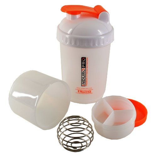 Induro Pro - Power Shaker S - Eiweißshaker - 500ml - Pillbox - US Bulletball - weiß/orange