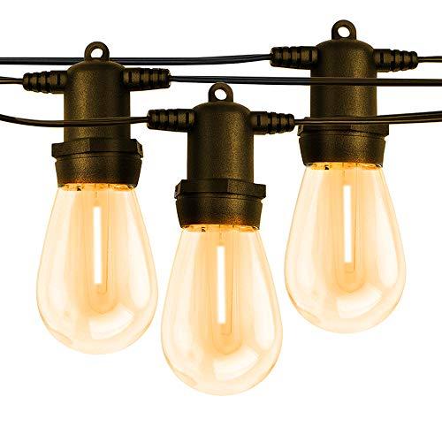 Outdoor String Lights Patio Hanging Light with LED Dimmable Light Bulbs Garden Deck Backyard Waterproof Shatterproof 50FT (Black)
