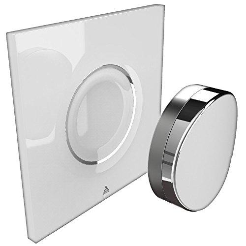 AwoX SP-B Interrupteur bluetooth à commande gestuelle SmartPEBBLE, Plastique, Blanc/Chromé, 80 x 80 mm