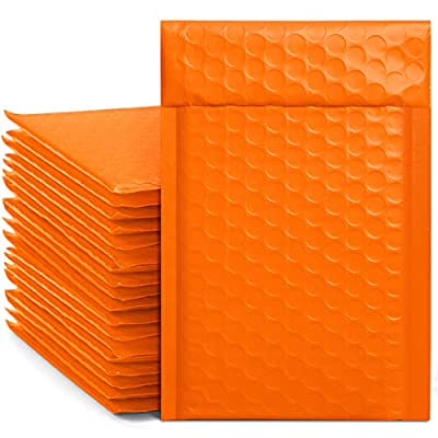 Metronic 4x8 Inch 50pcs Halloween Padded Envelopes Bubble Mailers #000 Bubble Lined Poly Mailer Self Seal Orange