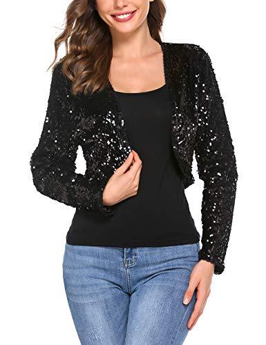 Chainscroll Womens Shiny Sequin Jacket Long Sleeve Cropped Blazer Bolero Shrug Black