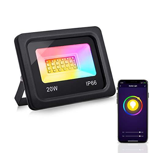 LOHAS WiFi RGB-Flutlichtstrahler für den Außenbereich, IP66 wasserdicht, für die Verwendung mit Amazon Alexa, Siri und IFTTT Smart Security Lights, 2200 lm Tageslichtweiß 6000 K, EU 2-Stecker