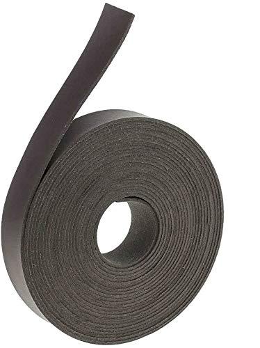 POFET Tiras de cuero para manualidades de piel, 5 metros, 2 cm de ancho, para cordón de cuero plano y cordones, color negro