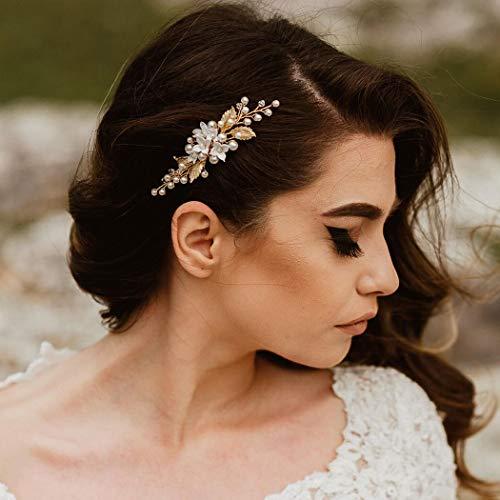 Unicra Braut Hochzeit Haarkamm Kristall Haarschmuck Brautschmuck Blumen Haarschmuck für Frauen und Mädchen