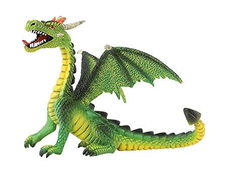 Bullyland 75593-Figura de Juego, dragón Sentado Verde, Aprox. 11 cm de Altura, Figura Pintada a Mano, sin PVC, para Que los niños jueguen de Forma imaginativa, Color Colorido (75593)