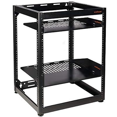 ECHOGEAR 15U Open Frame Rack - Heavy Duty 4 Post Design Holds All Your Network Servers & AV Gear - Includes 2 Vented Shelves & is Wall Mountable
