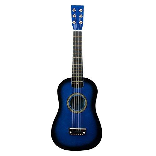 Wakects 21 inch blauw kindergitaar, klassieke kleine gitaar als cadeau voor beginners vanaf 4 jaar massief hout