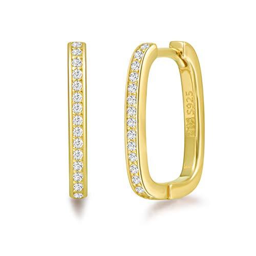 Pendientes de Aro Rectángulo para Mujer Plata de ley 925 Chapada Oro Amarillo y Circonita Aretes Pendientes Hoops Joyas para Mujer Niñas - Dimensión: 15 * 12.5 mm