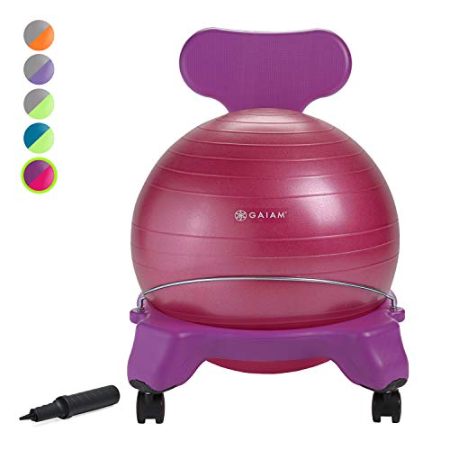 Gaiam Kids Balance Ball Chair - Classic Children's Stability Ball Chair, Alternative School Classroom Flexible Desk Seating for Active Students with Satisfaction Guarantee, Purple/Pink