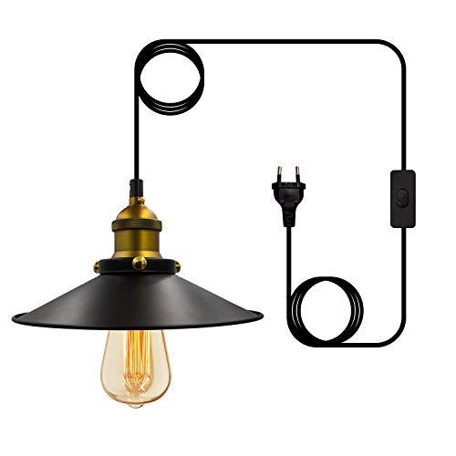 Lámpara de techo industrial vintage retro con interruptor E26/E27, base ajustable, para bar, café, Farmhouse