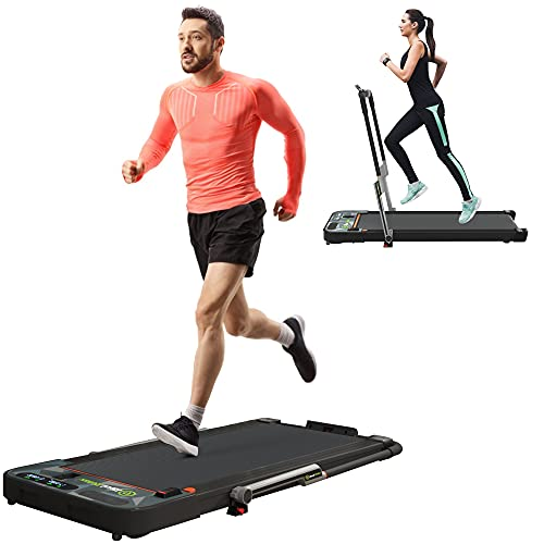 Real Relax 2 in 1 Under Desk Treadmill, 2.25HP Electric Folding Treadmill with Bluetooth Speaker and...