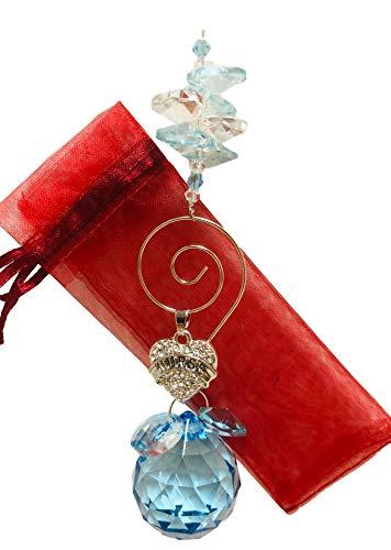 Nurse Gift - Aquamarine Suncatcher with Dangling Crystal Heart with Nurse in Center - Graduation, Birthday, Get Well Sun Catcher