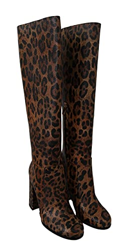 Dolce & Gabbana Brown Leopard Leather Heels Boots Shoes Size 8.5 US