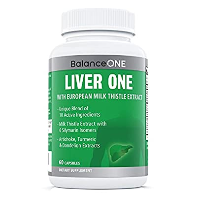 Liver One by Balance One Supplements - 10 Antioxidant Ingredients for Natural Liver Support - Milk Thistle, Molybdenum, Dandelion, Artichoke - Vegan, Non-GMO - 30 Day Supply by Balance One Supplements Inc