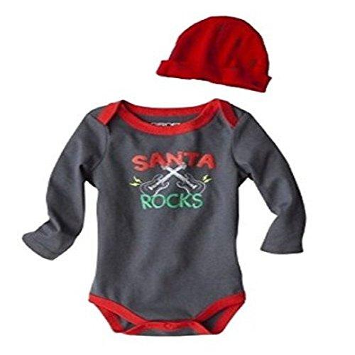 Cherokee Baby-Boys Santa Rocks Onesie Christmas Bodysuit & Hat Set Size 6 Month