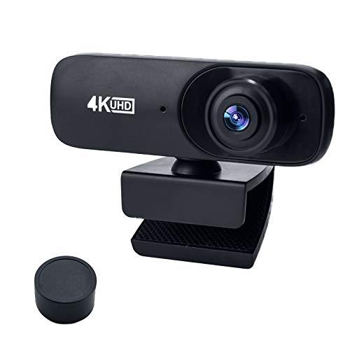 4K 30FPS Webcam with Microphone, UHD USB Computer Camera, Built-in Dual Noise Reduction Mics, 8 megapixels,Self-Beauty,120° Wide Angle for Zoom/Skype/FaceTime/Teams, PC Mac Laptop Desktop