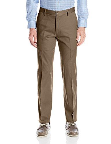 Dockers Men's Straight Fit Signature Lux Cotton Khaki Pant, Dark Pebble (Stretch), 34W x 34L
