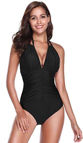 SHEKINI Damen Einteiliger Badeanzug Gepolstert Rückenfrei Sexy V-Ausschnitt Neckholder Bauchweg Push Up Abnehmbare Pads Bademode Frauen (S, C-Schwarz)
