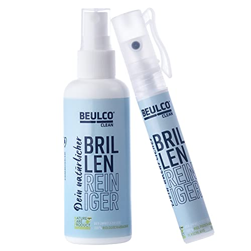 BEULCO CLEAN - Bio Brillenreiniger Set 1 x 100 ml & 1 x 16 ml Spray - Profi Brillen-Gläser Reiniger für streifenfreie Reinigung - Brillen-Reinigungsspray flüssig - Brillenreinigung biologisch abbaubar