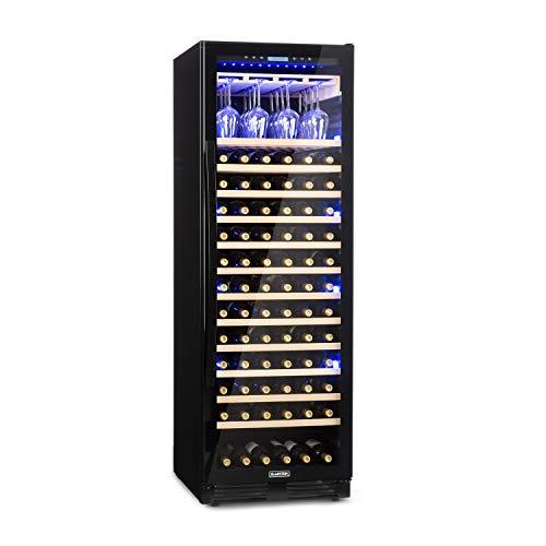 Klarstein Vinovilla Grande Onyx Weinkühlschrank, 433 Liter, 165 Weinflaschen, EEK A, 3-farbige Innenbeleuchtung, 13 Buchenholzeinschübe, Weinglashalter, Anti-Vibration, Schwarz