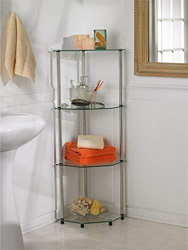 Convenience Concepts Designs2Go Estante de Esquina de Cristal clásico de 4 Niveles, Vidrio