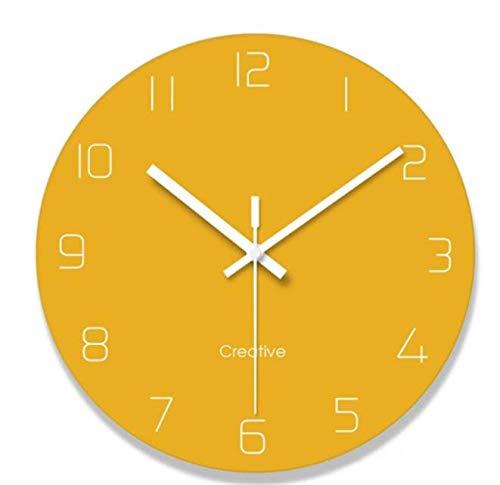 YAzNdom Reloj Amarillo Reloj de Pared salón Moderno Creativo Moda Dormitorio Redondo Mudo batería Estilo Decorativo Simple Reloj de Pared