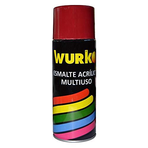 Wurko - Spray Pintura Esmalte Acrílica Rojo Fuego, Bote 400 ml