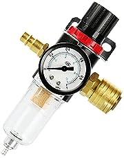 TOCYORIC Perslucht onderhoudseenheid drukregelaar 1/4 inch, persluchtregelaar met waterafscheider en Duitse snelkoppelingen voor compressorfilters