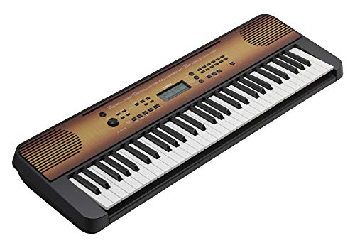 Yamaha PSRE360 61-Key Touch Sensitive Portable Keyboard with Power Supply, Maple Finish