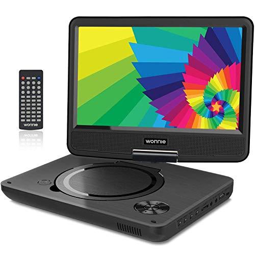 """WONNIE 9.5\"""" Tragbarer DVD-Player drehbares HD Display 4 Stunden Akku, Unterstützt USB/SD Slot, AV Out/IN, mit 1.5M Auto-Ladegerät und Stromadapter (Schwarz)"""