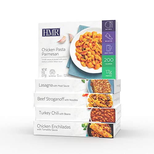 HMR Top 5 Entree Variety Pack: 1 ea. Chicken Pasta Parmesan, Beef Stroganoff, Chicken Enchiladas w/Tomatillo Sauce, Lasagna w/Meat Sauce, Turkey Chili w/Beans, 8 oz. Servings, 5 Different Meals