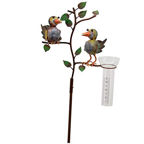matches21 Regenmesser Vögel auf Zweig bunt Metall Erdspieß Wetterstation Regenwasser Niederschlagsmesser 1 STK 25x132 cm