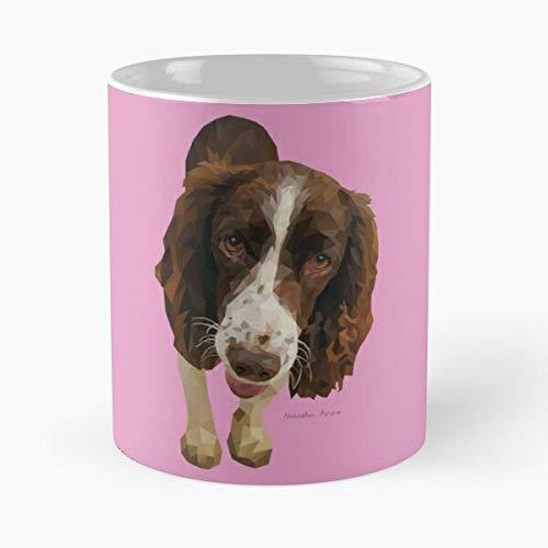 Perros Animales Lindo Geométrico Na Puppy Pets Portrait Designs Eat Food Bite John Best Taza de café de cerámica de 325 ml